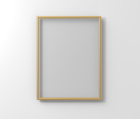 Isolated matte gold color photo frame hanging on the wall in 3d rendering Stockfoto - 108690140