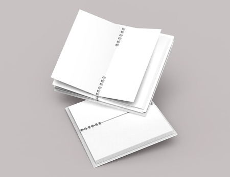 White hard cover open notebooks on pale pinkish gray background in 3d rendering, elevated view