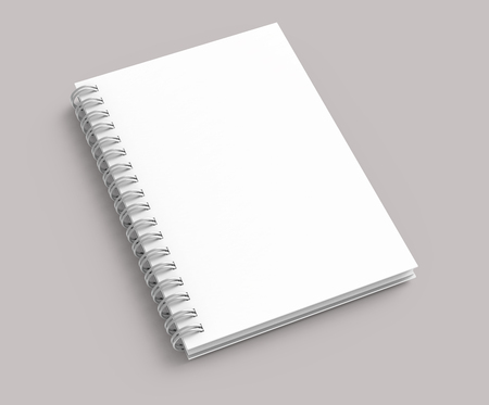 White hard cover book on pale pinkish gray background in 3d rendering, elevated view