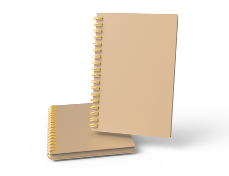 Kraft paper hard cover books on white background in 3d rendering