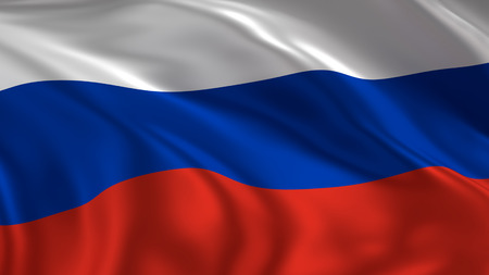 Russia flag waving in the air in 3d rendering