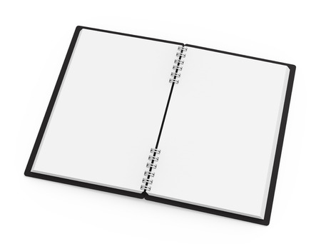 Black hard cover open notebook on white background in 3d rendering, elevated view Banco de Imagens