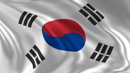 South Korea flag waving in the air in 3d rendering