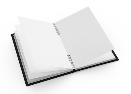 Spiral notebook blank template in 3d rendering on white background, black hard cover book
