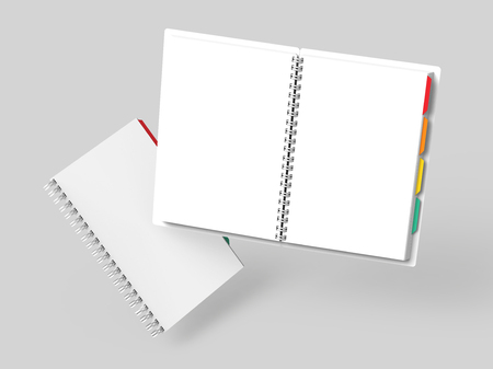 Open blank notebook with colorful tags on light gray background in 3d rendering, floating books