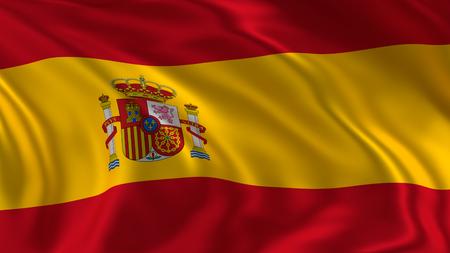 Spain flag waving in the air in 3d rendering Stock fotó