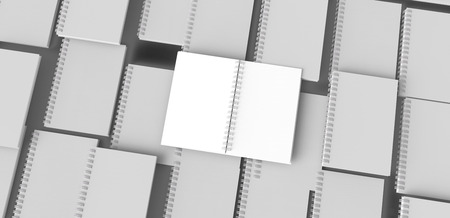 Top view of large amount of white paper hard cover books in 3d rendering
