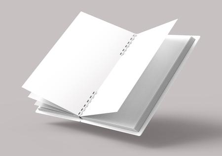 Livre ouvert à couverture rigide blanche flottante sur fond gris rose pâle dans le rendu 3D, vue élevée Banque d'images