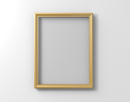 Isolated matte gold color photo frame hanging on the wall in 3d rendering