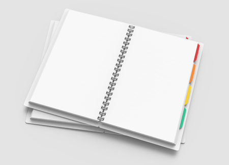 White open hard cover notebooks with colorful tags in 3d rendering on light grey background, elevated view Banco de Imagens