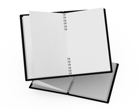 Spiral notebooks blank template in 3d rendering on white background, black hard cover books floating in the air Banco de Imagens