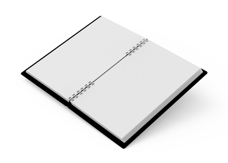 Open blank notebook with black cover on white background in 3d rendering, elevated view 写真素材