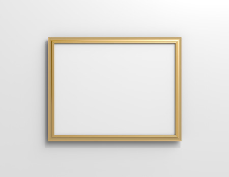 Matte gold color photo frame with blank copy space hanging on the wall in 3d rendering Stockfoto - 108766797