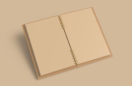 Open kraft paper notebook mockup, blank stationery template design in 3d rendering on Kraft background Stock fotó