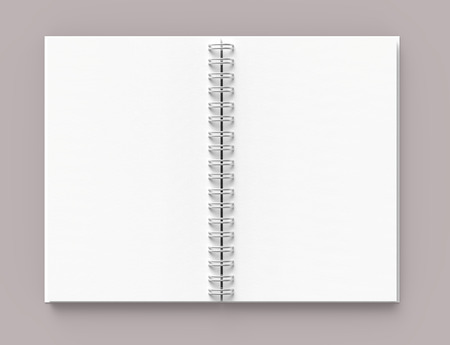 White hard cover open book on pale pinkish gray background in 3d rendering, top view