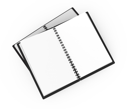Black hard cover open notebooks on white background in 3d rendering, elevated view Banco de Imagens