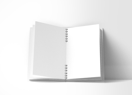 Open blank notebook on white background in 3d rendering Stock Photo