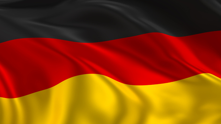 Vlag van Duitsland zwaaien in de lucht in 3D-rendering