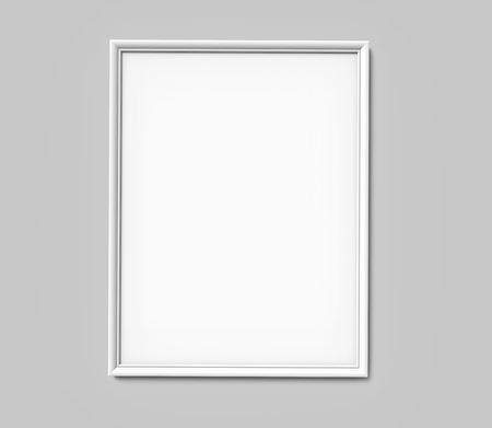 White photo frame with blank copy space hanging on grey wall in 3d rendering