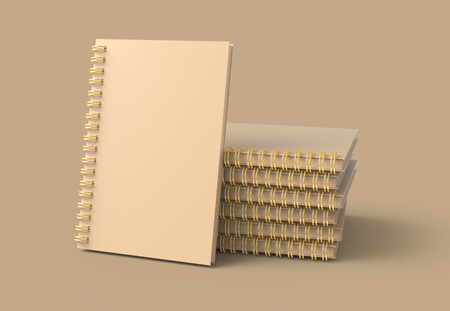 Pile of kraft paper hard cover books on brown background in 3d rendering Imagens