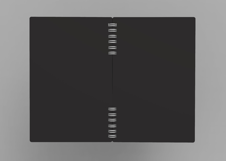 Black open hard cover book in 3d rendering on grey background, back view