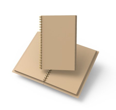 Open blank cardboard notebook on white background in 3d rendering, floating books 版權商用圖片
