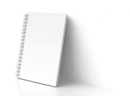 White hard cover book lean on the wall in 3d rendering