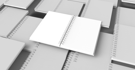 Blank notebooks background in 3d rendering, grey background 版權商用圖片