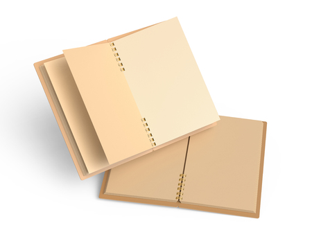 Blank open kraft paper notebooks, 3d rendering books mockup floating in the air on white background 写真素材