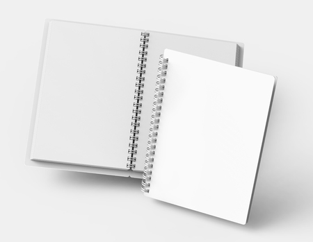 Float white hard cover open notebooks in 3d rendering on light grey background