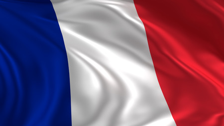 France flag waving in the air in 3d rendering Stock Photo