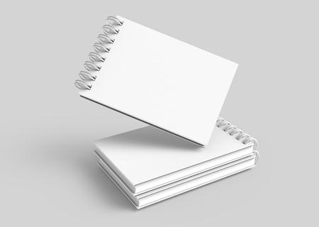 White hard cover books floating in the air in 3d rendering on grey background Imagens