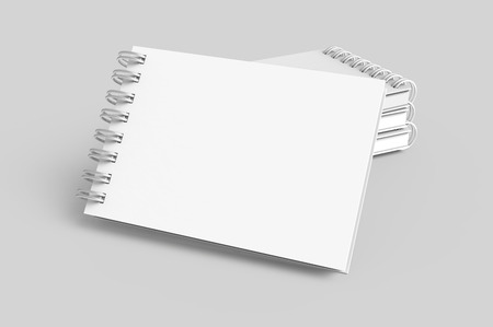 Pile of white hard cover notebooks in 3d rendering on light grey background, elevated view