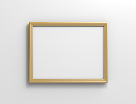 Matte gold color photo frame with blank copy space hanging on the wall in 3d rendering