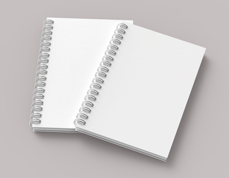 Set of white hard cover books on pale pinkish gray background in 3d rendering, elevated view