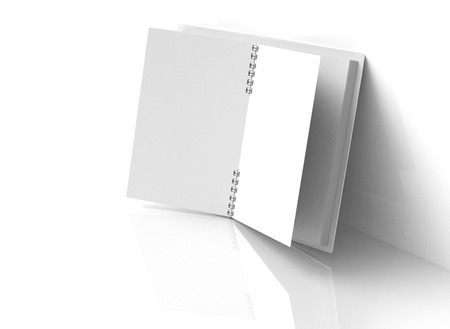 Blank notebook mockup in 3d rendering, white hard cover book lean on white wall