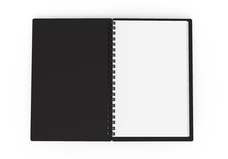 Black hard cover open notebook on white background in 3d rendering, top view