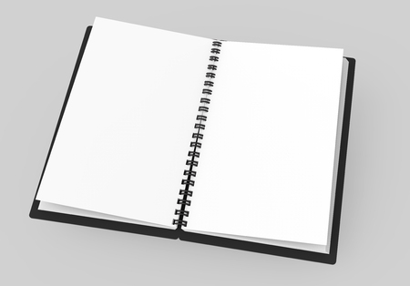 Spiral notebook blank template in 3d rendering on grey background, elevated view of black hard cover book