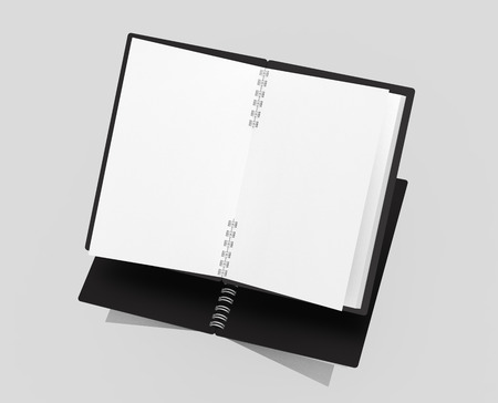Open blank notebook with black cover on light gray background in 3d rendering