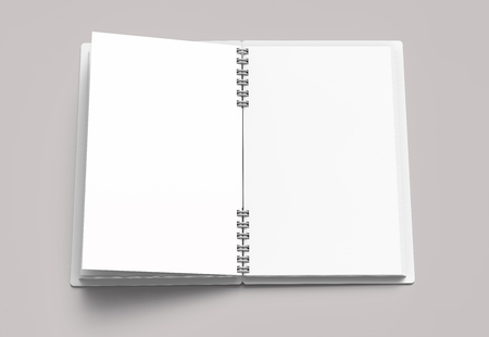 White hard cover open notebook on pale pinkish gray background in 3d rendering, top view
