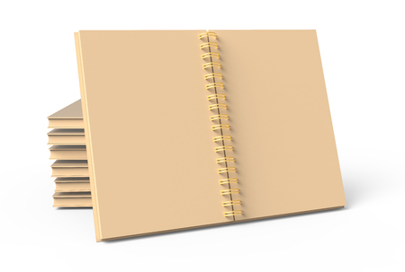 Pile of kraft paper hard cover books on white background in 3d rendering