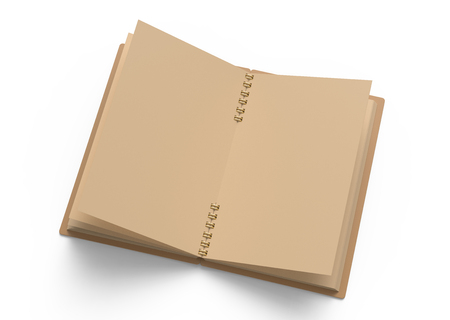 Blank open cardboard notebook isolated on white background in 3d illustration