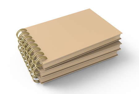 Blank cardboard notepads pile on white background in 3d illustration, elevated view Stockfoto