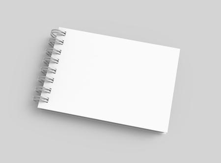 White hard cover book in 3d rendering on grey background, top view
