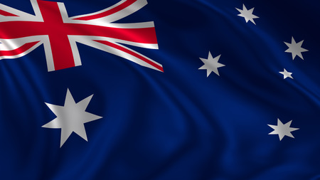 Australia flag waving in the air in 3d rendering