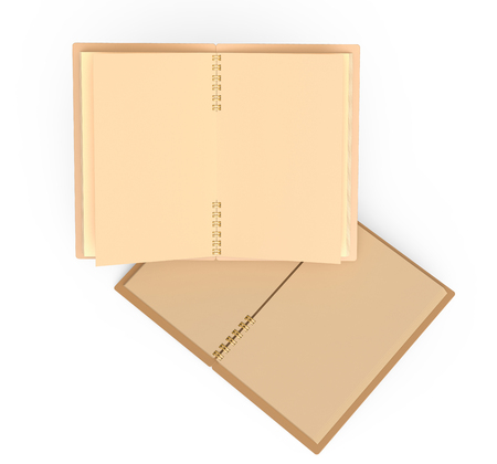 Open kraft paper notebooks mockup set floating in the air in 3d rendering, white background top view