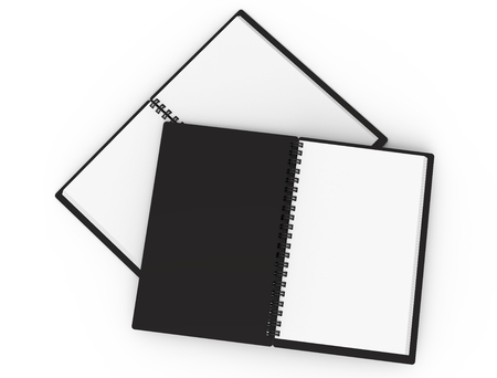 Black open hard cover books in 3d rendering on white background, top view