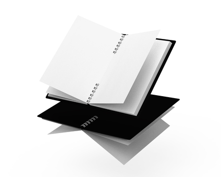 Black hard cover books floating in the air in 3d rendering on white background