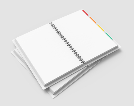 White open hard cover books with colorful tags in 3d rendering on grey background, elevated view Banco de Imagens