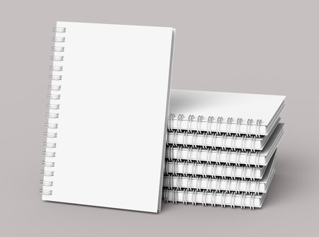 Pile of white hard cover books on pale pinkish gray background in 3d rendering Banco de Imagens